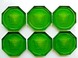 6 Glass Coasters By Rosenthal Versace In Green 100 Authentic Brand New Medusa