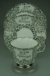 Vintage Elizabethan 25th Anniversary Trio Footed Cup And Saucer, Side Plate Ze148