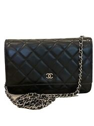 Chanel Bag Classic Wallet on a chain . Lambskin amp; Silver Tone Metal Black $2500.00