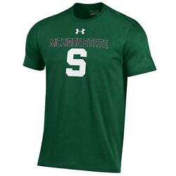 Michigan State Spartans Under Armour Green Charged Cotton Heatgear T-shirt S