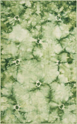 Diva At Home 8and039x11and039 Vagabond Tie-dye Style Spring Green Hand Woven Throw Rug