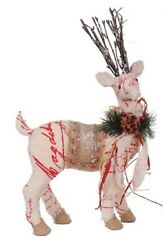 A And B Home 17 Country Cabin Snow Flocked Reindeer Red Script Christmas Figure