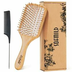 Hair Brush-natural Wooden Bamboo Brush And Detangle Tail Comb Instead Of Brush
