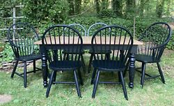 Ethan Allen New Country Miller Rustic Dining Table And 6 Gilbert Chairs