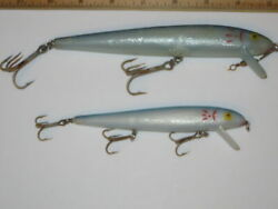 Lot Of 2 Cotton Cordell Red Fin Redfin 7 + 5 Inch Minnow Lures Blue White