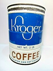 Vintage 1946 Kroger Coffee Tin + Lid 2 Pound Can Vacuum Packed Advertising