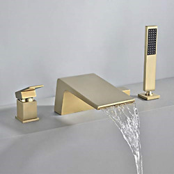 Lovedima Waterfall Roman Tub Faucet With Handshower Deck Mount 4-hole 2-handle