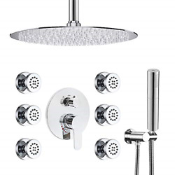 Luxury Round Shower Faucet Set12andrdquo High Pressure Shower Head System With Body