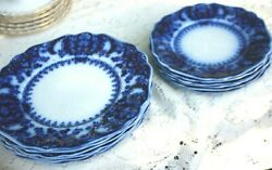 Johnson Brothers Flow Blue Florida 6 Luncheon 9 Inches And 6 Dessert Plates