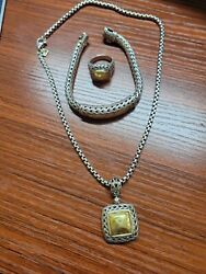 John Hardy Sterling Silver 22k Hammered Yellow Gold Set