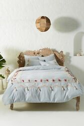 Last One Anthropologie X Vineet Bahl Embroidered Romula King Duvet Cover Sky Nwt