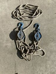 Cool Industrial Pair 1/2 Ton Steel Block And Tackle Pulleys With Old Rope