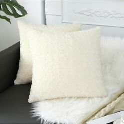 Sykting Luxury Soft Plush Faux Fur Throw Pillow Covers for Couch Decorative 2PK