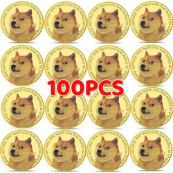 100x Gold Dogecoin Coins Commemorative Collector Gold Color Space Doge Coin 2021