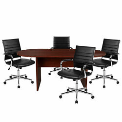 Flash Furniture 5 Piece Mahogany Oval Conference Table Set Bln-6gcmhg595m-bk-gg