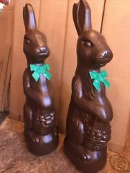 """Blow Mold Easter Rabbit Chocolate Plastic Green Bows Huge 31"""" Inches Union Pair"""