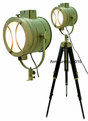 Antique Wooden Spot Light Floor Lamp Search Light With Tripod Stand Home Decor