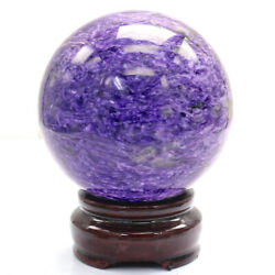 Three Great Healing Stones Charoite Sphere Figurine 2.638 Inch With Stand N-f837