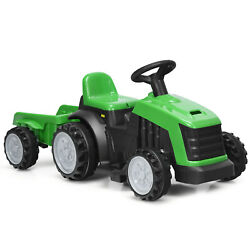 Honeyjoy 6v Electric Kids Ride On Tractor 6 Wheels Car Toy With Trailer Green