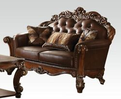 Acme Vendome Loveseat With 2 Pillows In Cherry And Cherry Finish 52002