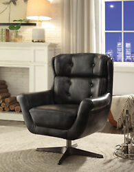Acme Asotin Accent Chair In Vintage Black Top Grain Leather Finish 59532