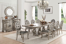 Acme Northville Dining Table With Double Pedestal In Antique Champagne 66920