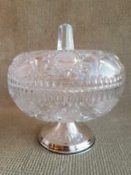 Candy Vase Crystal Sterling Silver 825 Stand Decor Glass Bowl Decorative Rare