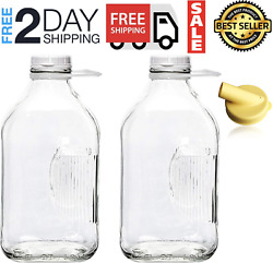 The Dairy Shoppe Heavy Glass Milk Bottles 2 Quart 64 Oz Jugs With Extra Lids