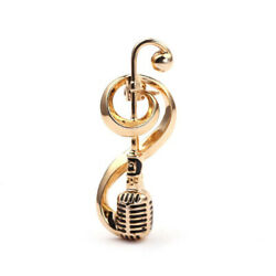 Antique Microphone Music Note Brooch Collar Pins Women Corsage Hat Jewelrcaca