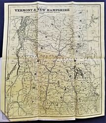 1881 Antique New Hampshire Map Foldout History Business Directory Ads Genealogy