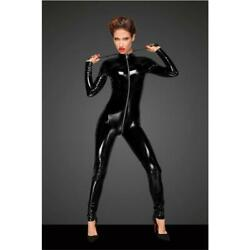 Ladies Latex-look Clubwear Overall Catsuit With Zipper Black Ov536