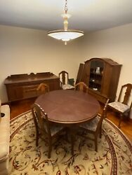 Antique Dining Room Set 6 Chairs, Round Table, Buffet And China Cabinet