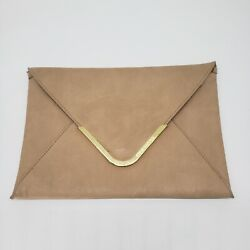 Steve Madden Beige Tan Magnetic Envelope Clutch Purse With Gold Detail