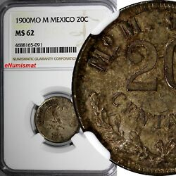 Mexico Second Republic Silver 1900 Mo M 20 Centavos Ngc Ms62 Toned Km 405.2