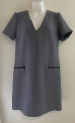 Top Shop Formal Gray Dress With Pockets And Zipper Size 6