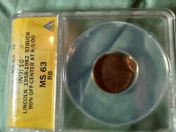 1959 -1982 Lincoln Nd Ms63 Rb Struck 90 Off Center Error Coin