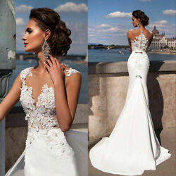 Women Sexy Lace White Wedding Dress V Neck Beach Gown A line Bridal Prom Evening $26.59