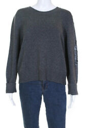 Womens Gabrielle Coco Crew Neck Sweater Gray Cashmere Size Fr 50