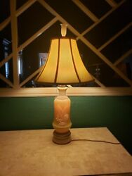 Vintage Aladdin Lily Of The Valley Green Alacite Electric Table Lamp And Finial