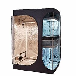 2-in-1 Indoor Grow Tent 600d High-reflective W/2-tiered For Lodge 48x36x72
