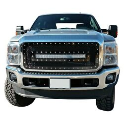 For Ford F-250 Super Duty 11-16 Main Grille 1-pc Gloss Black Mesh Main Grille W