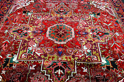9x12 1940s Exquisite Elegant Mint Antique Hand Knotted Herizz Geometric Wool Rug