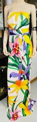 Limited Edition Flora Gown Maxi Dress Silk Floral White I 40
