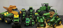 Assorted Lot Of 14 John Deere Tractors And Truck Toys Free Shipping