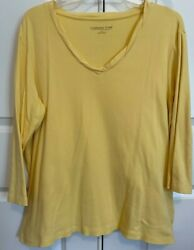 Coldwater Creek 1x Knit Yellow 3/4 Sleeve Top Women Plus Excellent