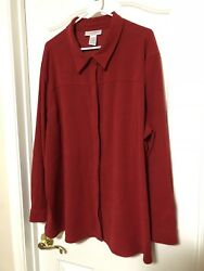 3x Red Long Sleeve Stretch Shirt Sag Harbor Heavy Weight Polyester Blend 54x32