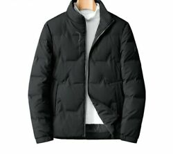 Classic Winter Menand039s Jacket Solid Thick Warm Stand Collar Down Polyester Spandex