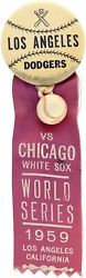 1959 Los Angeles Dodgers Vs Chicago White Sox World Series Button Pin Ribbon