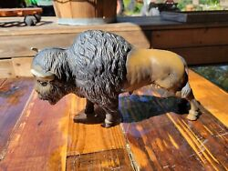 Vintage Antique Cast Iron Metal Coin Bank Buffalo Bison Very Heavy