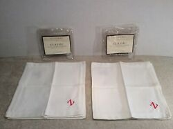 Pottery Barn Classic Hotel Cocktail Napkins 2 Packs Of 6 For Total 12 Embroid Z